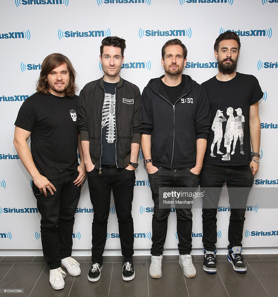 Chris 'Woody' Wood, Dan Smith, William Farquarson and Kyle J. Simmon of Bastille visit at SiriusXM Studio on October 4, 2016 in New York City.