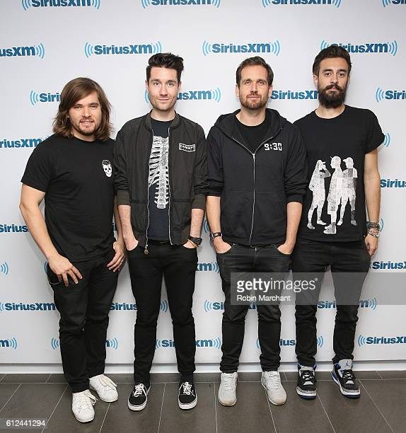 Chris 'Woody' Wood Dan Smith William Farquarson and Kyle J Simmon of Bastille visit at SiriusXM Studio on October 4 2016 in New York City