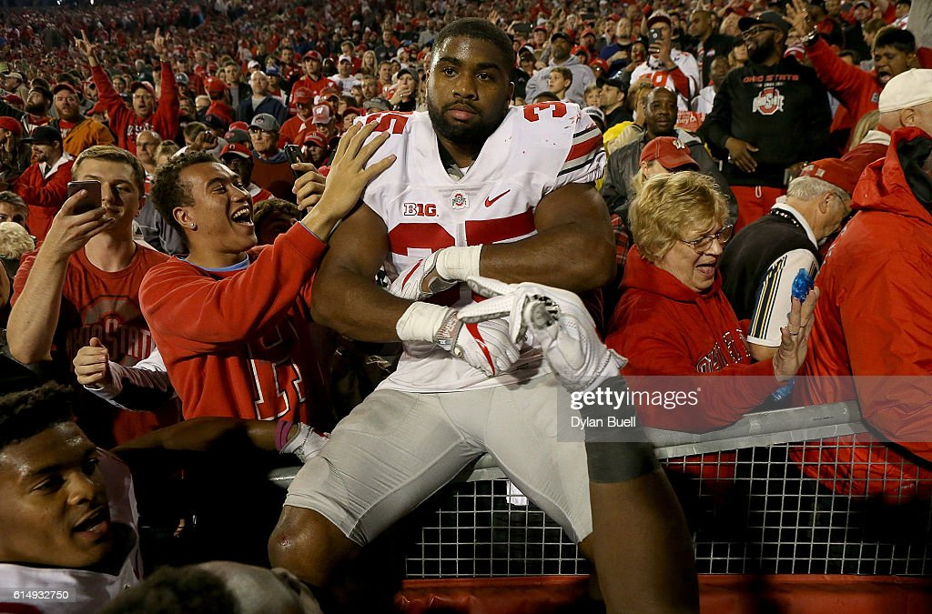 Chris Worley #35 of the Ohio State Buckeyes celebrates after beating the Wisconsin Badgers 30-23 in overtime at Camp Randall Stadium on October 15, 2016 in Madison, Wisconsin.