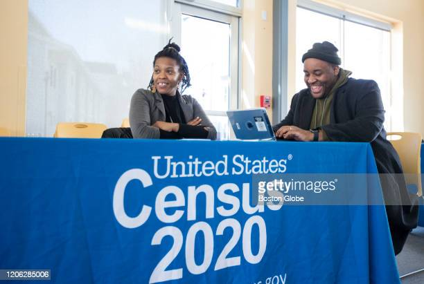 Chris Worrell right jokes with Teresa Jefferson as he applies to work the 2020 Census at the John Tierney Learning Center in South Boston on Feb 22...