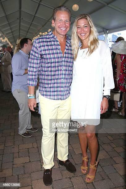 Chris Wragge and Sarah Wragge attend the 2015 Hampton Classic Grand Prix on August 30 2015 in Bridgehampton New York