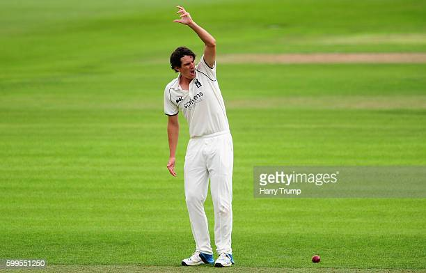 Chris Wright of Warwickshire appeals during Day One of the Specsavers County Championship Division One match between Somerset and Warwickshire at The...