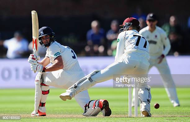 Chris Wright of Warwickshire bats during Day Three of the Specsavers County Championship Division One match between Somerset and Warwickshire at The...