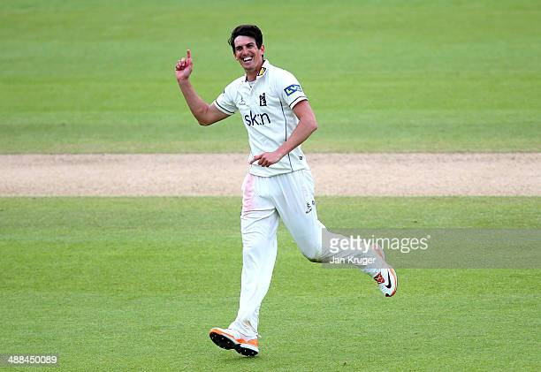 Chris Wright of Warwickshire celebrates a wicket during the LV County Championship match between Warwickshire and Middlesex at Edgbaston on May 6...