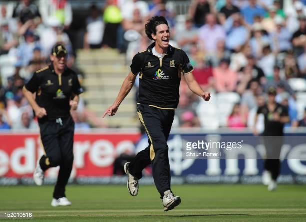 Chris Wright of Warwickshire celebrates after taking the wicket of Michael Carberry of Hampshire during the Clydesdale Bank Pro40 Final between...