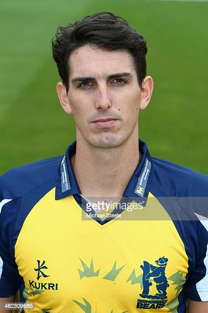 Chris Wright of Warwickshire poses in the Birmingham Bears NatWest T20 Blast kit during the Warwickshire CCC photocall at Edgbaston on April 3 2014...
