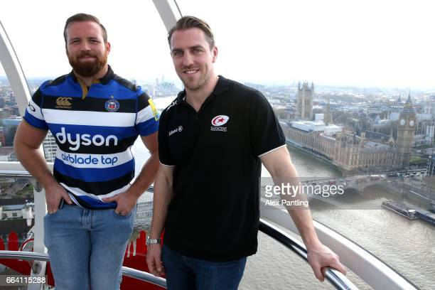 Chris Wyles of Saracens and Henry Thomas of Bath Rugby pose for photos during a Aviva Premiership Rugby Photocall ahead of the matches to be played...