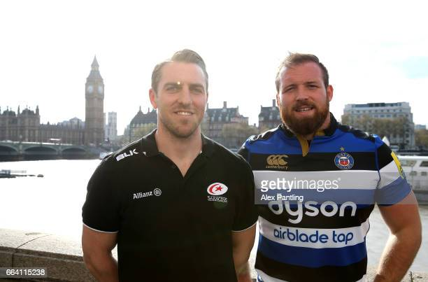 Chris Wyles of Saracens and Henry Thomas of Bath Rugby pose for photos alongside The River Thames during a Aviva Premiership Rugby Photocall ahead of...