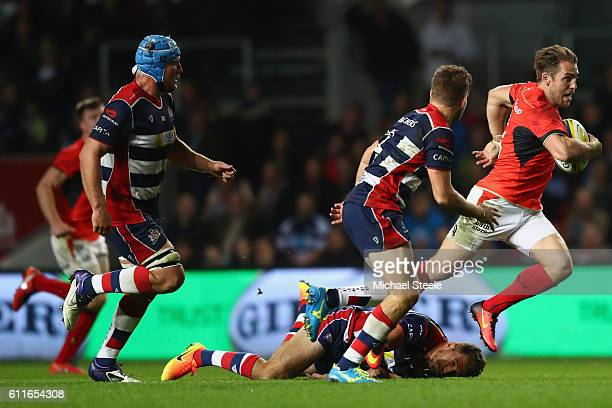 Chris Wyles of Saracens makes a break during the Aviva Premiership match between Bristol Rugby and Saracens at Ashton Gate on September 30, 2016 in...