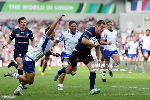 Chris Wyles of the United States breaks clear to score his teams opening try during the 2015 Rugby World Cup Pool B match between Samoa and USA at...
