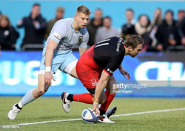 Chris Wyles scores Saracens second try duirng the European Rugby Champions Cup quarter final match between Saracens and Northampton Saints at Allianz...