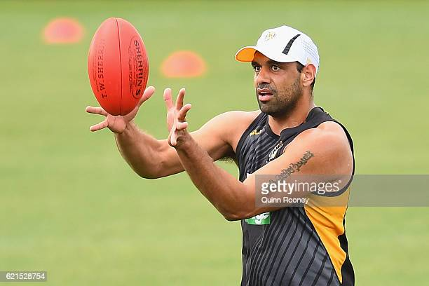 Chris Yarran of the Tigers marks during a Richmond Tigers AFL preseason training session at ME Bank Centre on November 7 2016 in Melbourne Australia