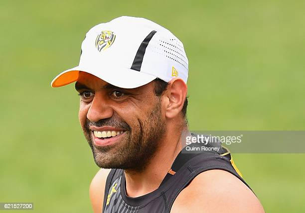 Chris Yarran of the Tigers smiles during a Richmond Tigers AFL preseason training session at ME Bank Centre on November 7 2016 in Melbourne Australia
