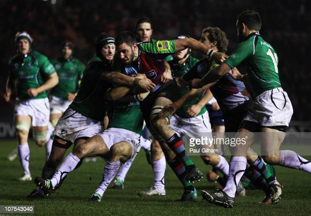 Chris York of Harlequins attempts to break through the Connacht Rugby defence during the Amlin Challenge Cup match between Harelquins and Connacht...