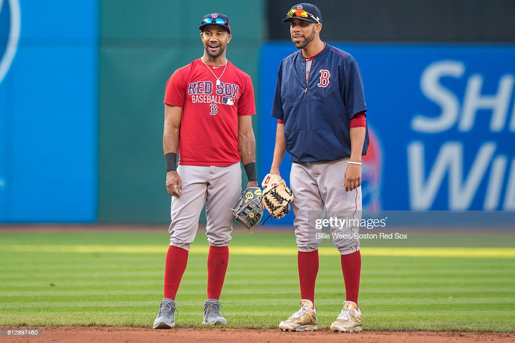 Chris Young #30 and David Price #24 of the Boston Red Sox talk before game one of the American League Division Series against the Cleveland Indians on October 6, 2016 at Progressive Field in Cleveland, Ohio.