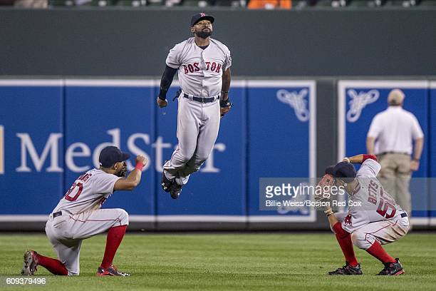 Chris Young Jackie Bradley Jr #25 and Mookie Betts of the Boston Red Sox celebrate a victory against the Baltimore Orioles on September 20 2016 at...