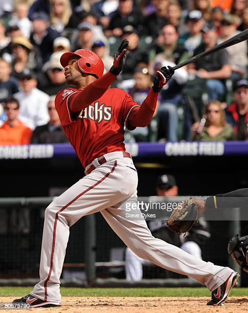 Chris Young of the Arizona Diamondbacks watches the flight of his pop fly during the MLB game against the Colorado Rockies at Coors Field on April 6,...