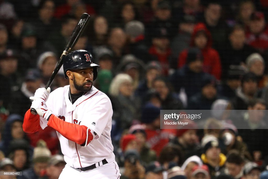 Chris Young #30 of the Boston Red Sox at bat against the Pittsburgh Pirates during the second inning at Fenway Park on April 5, 2017 in Boston, Massachusetts.