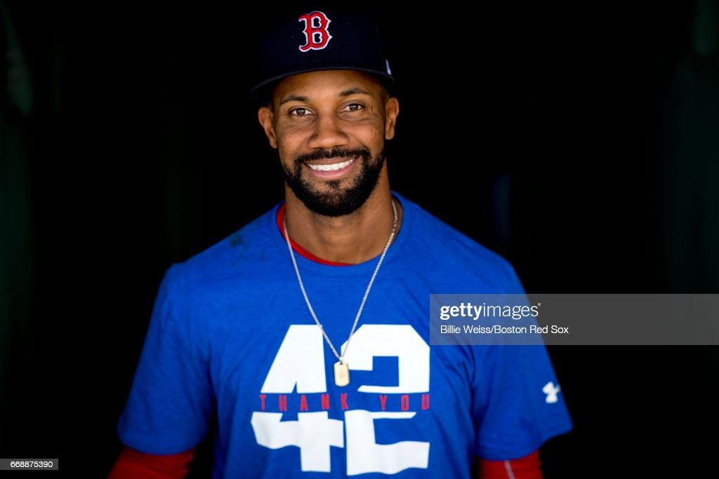 Chris Young #30 of the Boston Red Sox poses wearing a shirt recognizing Jackie Robinson Day before a game against the Tamp Bay Rays on April 15, 2017 at Fenway Park in Boston, Massachusetts.