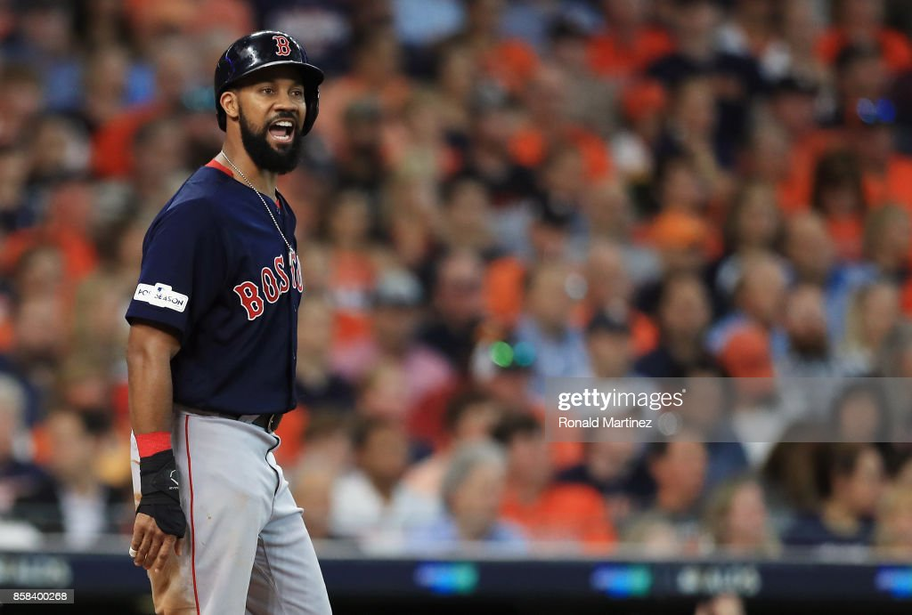 Chris Young #30 of the Boston Red Sox reacts after scoring a run in the second inning against the Houston Astros during game two of the American League Division Series at Minute Maid Park on October 6, 2017 in Houston, Texas.