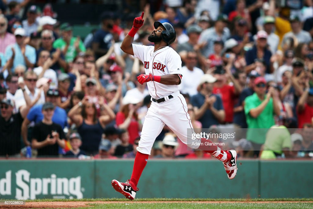 Chris Young #30 of the Boston Red Sox reacts as he rounds the bases after hitting a three-run home run in the fifth inning of a game against the Chicago White Sox at Fenway Park on August 6, 2017 in Boston, Massachusetts.