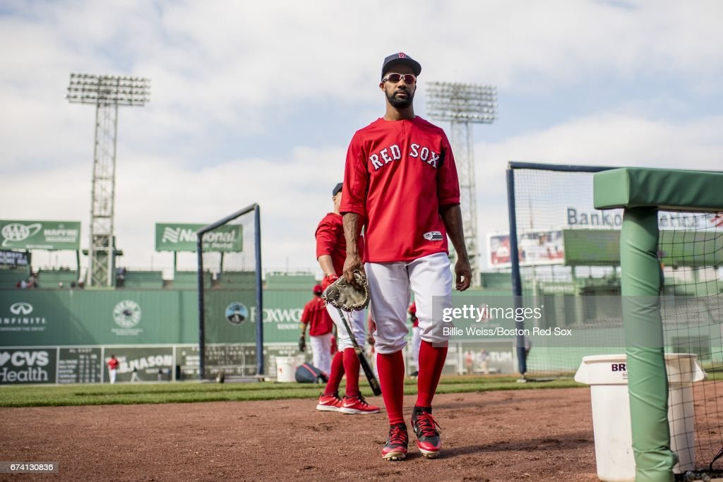 Chris Young #30 of the Boston Red Sox walks toward the dugout before a game against the New York Yankees on April 27, 2017 at Fenway Park in Boston, Massachusetts.