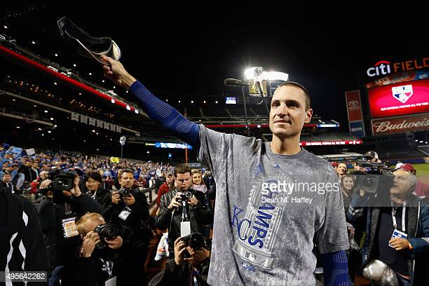 Chris Young of the Kansas City Royals celebrates defeating the New York Mets to win Game Five of the 2015 World Series at Citi Field on November 1...