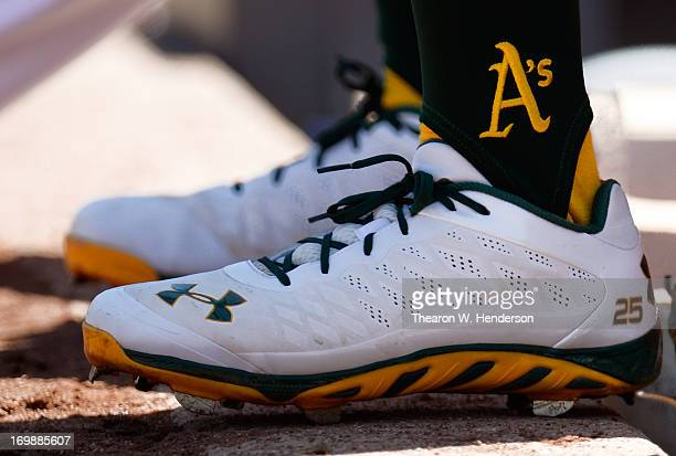 Chris Young of the Oakland Athletics wearing Under Armour Baseball cleats against the Chicago White Sox at Oco Coliseum on June 1 2013 in Oakland...
