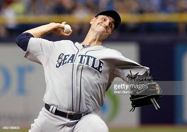 Chris Young of the Seattle Mariners pitches during the first inning of a game against the Tampa Bay Rays on June 6 2014 at Tropicana Field in St...