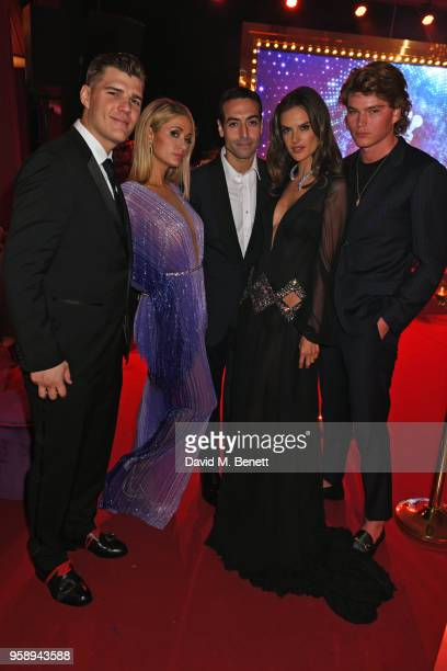 Chris Zylka Paris Hilton Mohammed Al Turki Alessandra Ambrosio and Jordan Barrett attend the de Grisogono party during the 71st annual Cannes Film...