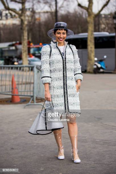 Chrisa Pappas is seen in the streets of Paris before the Chanel show during Paris Fashion Week Womenswear Fall/Winter 2018/2019 on March 6 2018 in...