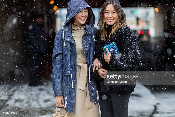 Chriselle Lim Aimee Song seen outside Phillip Lim during New York Fashion Week Women's Fall/Winter 2016 on February 15 2016 in New York City