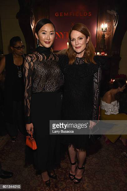 Chriselle Lim and actress Julianne Moore attend the Gemfields In Conversation Cocktail Party during New York Fashion Week The Shows September 2016 at...