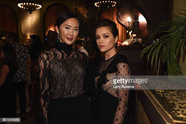 Chriselle Lim and actress Sophie Cookson attend the Gemfields In Conversation Cocktail Party during New York Fashion Week The Shows September 2016 at...