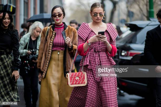 Chriselle Lim and Danielle Bernstein seen outside Fendi during Milan Fashion Week Fall/Winter 2018/19 on February 22 2018 in Milan Italy