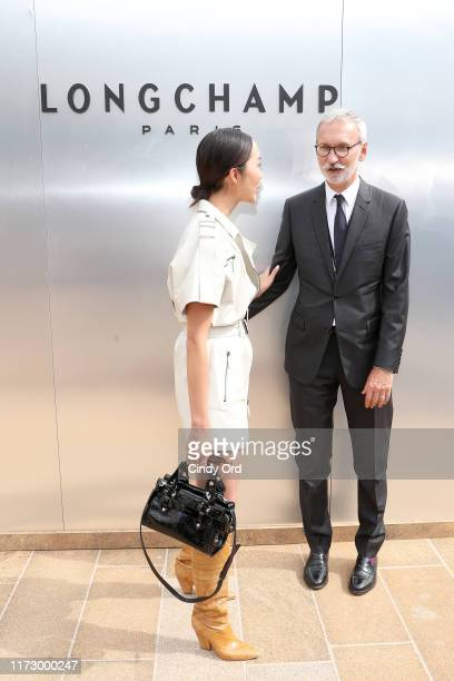 Chriselle Lim and Jean Cassegrain attends the Longchamp SS20 Runway Show at Hearst Plaza Lincoln Center on September 07 2019 in New York City
