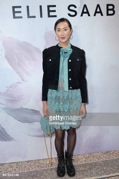 Chriselle Lim attends the Elie Saab show as part of the Paris Fashion Week Womenswear Fall/Winter 2017/2018 on March 4 2017 in Paris France