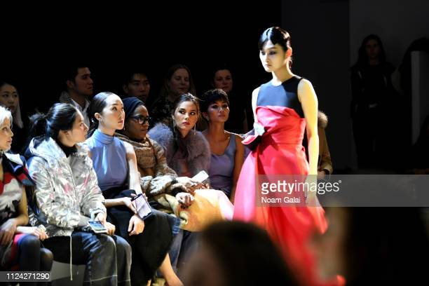 Chriselle Lim Esther Swan Miss universe Catriona Gray and Miss vietnam H'Hen Nie attend the Phuong My front row during New York Fashion Week The...