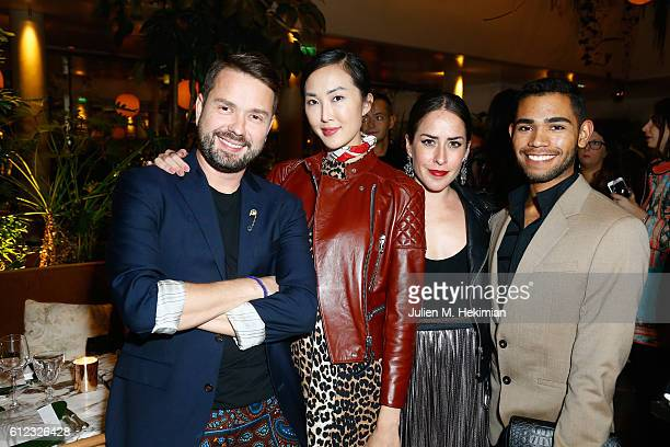 Chriselle Lim Idalia Salsamendi and guests attend a dinner to launch the luxury British eyewear brand SS17 campaign during Paris Fashion Week at...