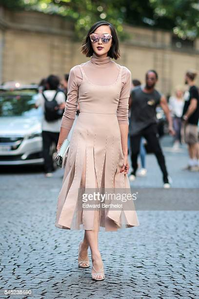Chriselle Lim is seen after the Valentino show during Paris Fashion Week Haute Couture F/W 2016/2017 on July 6 2016 in Paris France
