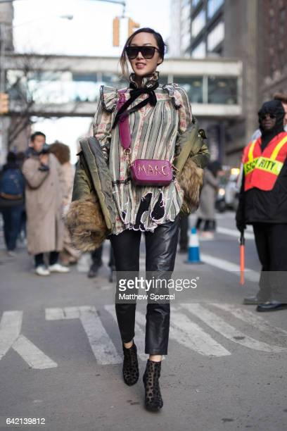 Chriselle Lim is seen attending MARC JACOBS during New York Fashion Week wearing MARC JACOBS on February 16, 2017 in New York City.