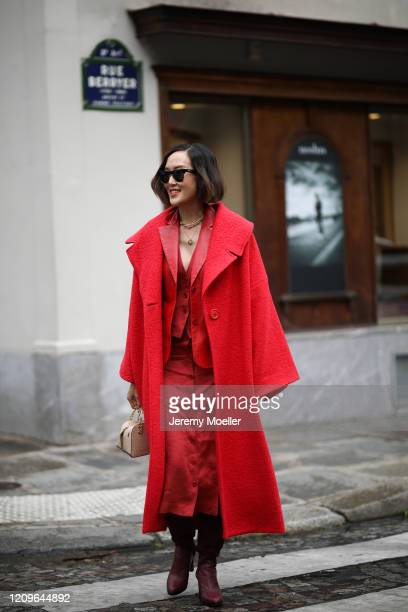 Chriselle Lim is seen outside Altuzarra show during Paris Fashion week Womenswear Fall/Winter 2020/2021 Day Six on February 29 2020 in Paris France