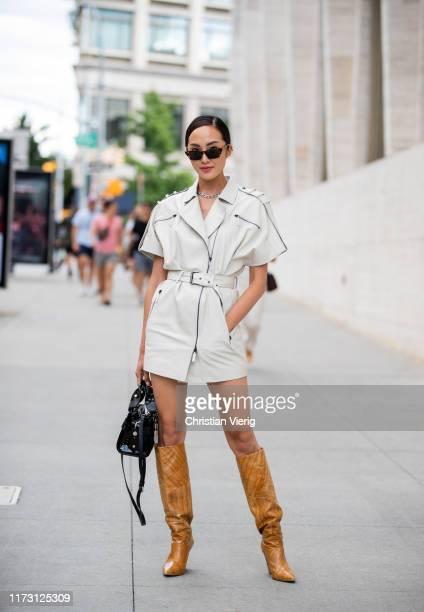 Chriselle Lim is seen outside Longchamp during New York Fashion Week September 2019 on September 07 2019 in New York City