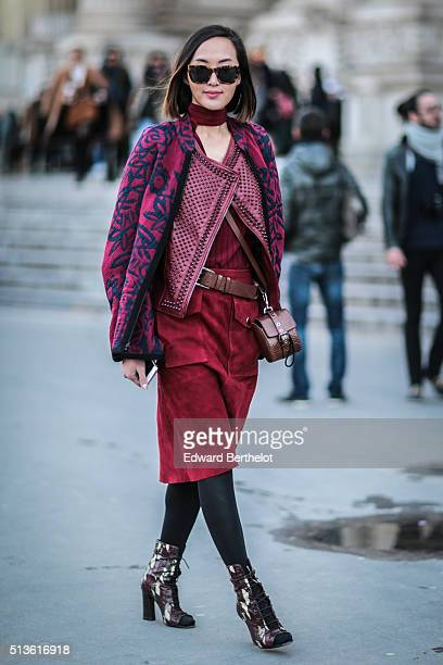 Chriselle Lim is seen wearing Barbara Bui after the Barbara Bui show during Paris Fashion Week Womenswear Fall Winter 2016/2017 on March 3 2016 in...