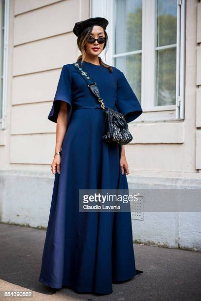 Chriselle Lim is seen wearing Dior before the Dior show at the Musee Rodin during Paris Fashion Week Womenswear SS18 on September 26 2017 in Paris...