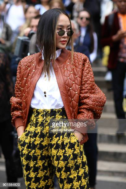Chriselle Lim wearing a complete look from Balmain on September 28 2017 in Paris France