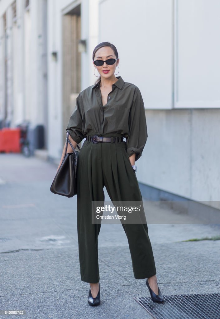 Chriselle Lim wearing an overall seen in the streets of Manhattan outside Michael Kors during New York Fashion Week on September 13, 2017 in New York City.