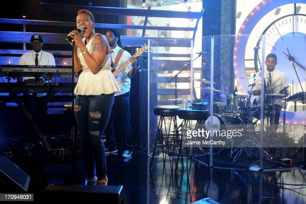 Chrisette Michele performs during the MTV VH1 CMT LOGO 2013 O Music Awards on June 20 2013 in New York City