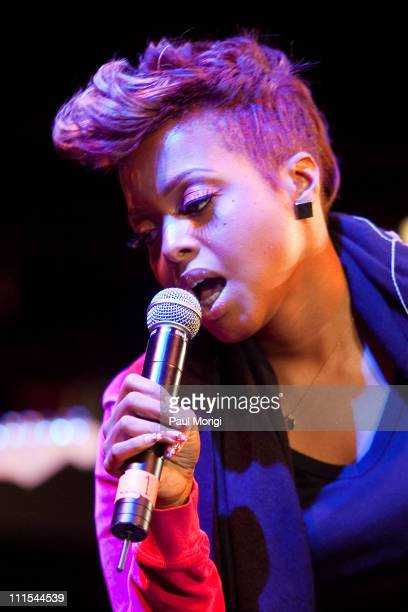 Chrisette Michele performs during the sound check at the GRAMMY U meet and greet at the 930 Club on February 23 2010 in Washington DC