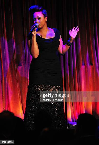 Chrisette Michele performs onstage at the 2009 UNICEF Snowflake Ball at Cipriani 42nd Street on December 2 2009 in New York City